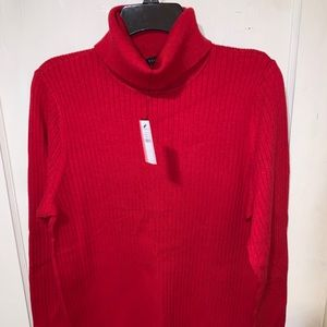 Talbots red ribbed turtleneck sweater Size Large